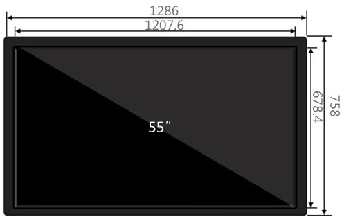 55寸壁挂广告机尺寸参数