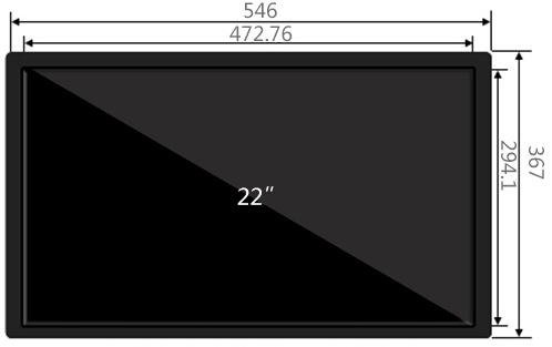 22寸壁挂触摸一体机(拉丝)尺寸参数
