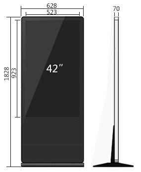 42寸立式广告机尺寸参数