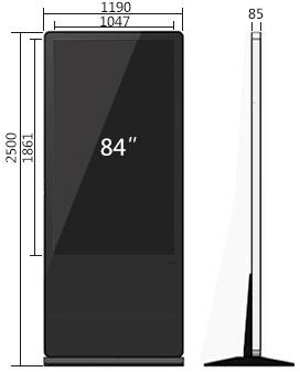 84寸立式触摸一体机尺寸参数